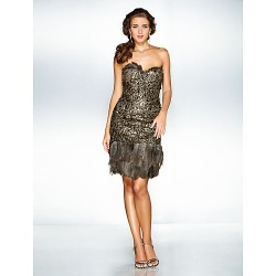 Australia Cocktail Party Dresses Holiday Prom Dress Brown Plus Sizes Dresses Petite A-line Princess Sweetheart Short Knee-length Sequined