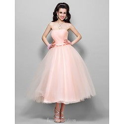 Wedding Party Dresses Australia Formal Dresses Cocktail Dress Party Dress Pearl Pink Plus Sizes Dresses Petite A-line Princess Strapless Tea-length Tulle