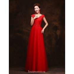 Australia Formal Dress Evening Gowns Ruby Plus Sizes Dresses A Line V Neck Long Floor Length Lace Dress Tulle
