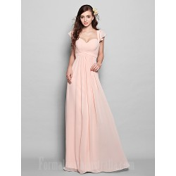 Long Floor-length Chiffon Bridesmaid Dress Pearl Pink Plus Sizes Dresses Petite A-line Sweetheart