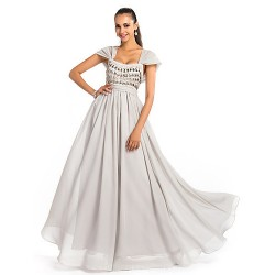 Australia Formal Dress Evening Gowns Prom Gowns Military Ball Dress Silver Plus Sizes Dresses Petite A Line Princess Square Long Floor Length Chiffon