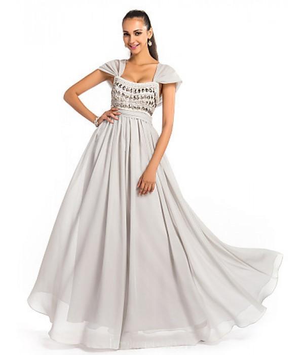 Australia Formal Dress Evening Gowns Prom Gowns Military Ball Dress Silver Plus Sizes Dresses Petite A-line Princess Square Long Floor-length Chiffon Formal Dress Australia