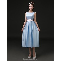 Australia Formal Dresses Cocktail Dress Party Dress Sky Blue Plus Sizes Dresses A Line Bateau Tea Length Satin