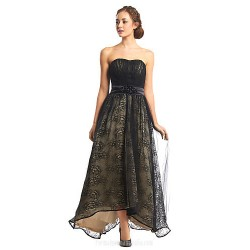 Australia Formal Dress Evening Gowns Black A Line Strapless Asymmetrical Lace Tulle