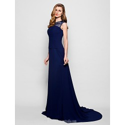 A-line Plus Sizes Dresses Petite Mother of the Bride Dress Dark Navy Court Train Sleeveless Georgette Lace