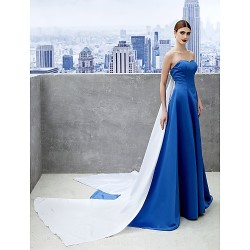 Australia Formal Dress Evening Gowns Royal Blue A-line Sweetheart Chapel Train Satin