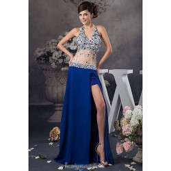 Australia Formal Evening Dress Royal Blue Petite A-line Halter Long Floor-length Satin Tulle