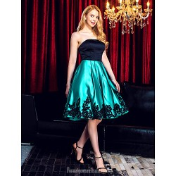 Australia Formal Dresses Cocktail Dress Party Dress Multi Color A Line Strapless Short Knee Length Satin