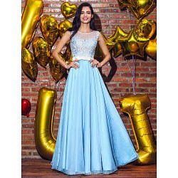 Australia Formal Dress Evening Gowns Sky Blue Plus Sizes Dresses Petite A Line Princess Scoop Long Floor Length Chiffon