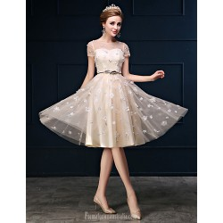 Dress Champagne A-line Jewel Short Knee-length Tulle Charmeuse