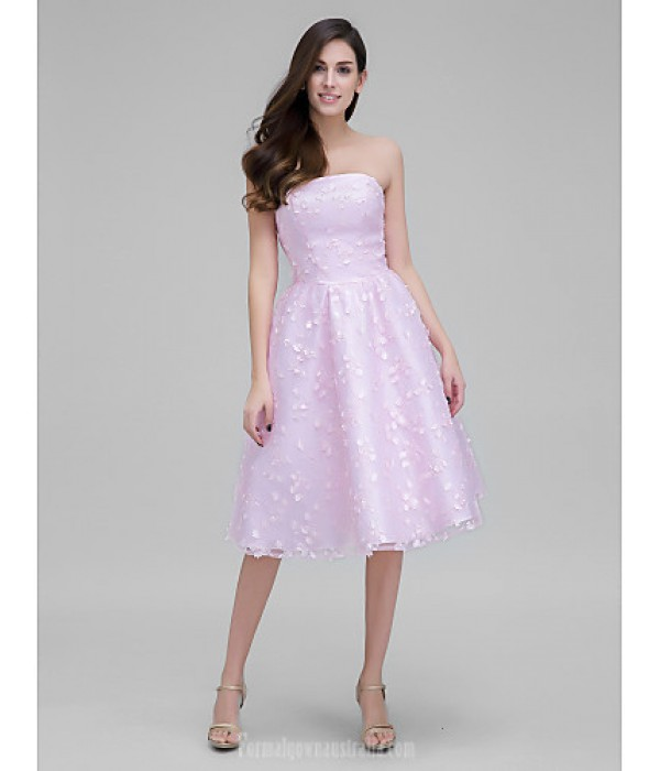 Australia Formal Dresses Cocktail Dress Party Dress Blushing Pink A-line Strapless Short Knee-length Lace Formal Dress Australia