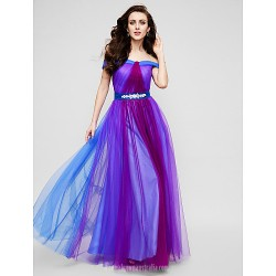 Australia Formal Dress Evening Gowns Multi Color A Line Off The Shoulder Long Floor Length Tulle Dress