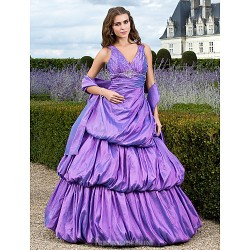 Prom Gowns Australia Formal Dress Evening Gowns Quinceanera Sweet 16 Dress Lilac Plus Sizes Dresses Petite Ball Gown A-line Princess V-neck Long Floor-length Taffeta