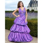 Prom Gowns Australia Formal Dress Evening Gowns Quinceanera Sweet 16 Dress Lilac Plus Sizes Dresses Petite Ball Gown A-line Princess V-neck Long Floor-length Taffeta Formal Dress Australia