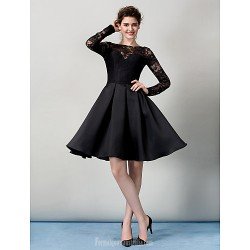 Australia Formal Dresses Cocktail Dress Party Dress Black A Line Bateau Short Knee Length Lace