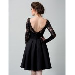 Australia Cocktail Party Dress Black A-line Bateau Short Knee-length Lace Formal Dress Australia