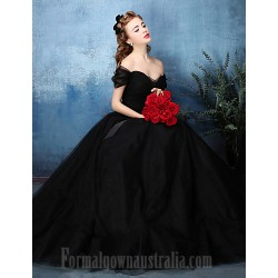 Australia Formal Dress Evening Gowns Jade Black A-line Off-the-shoulder Long Floor-length Tulle Dress Charmeuse