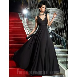 Military Ball Australia Formal Dress Evening Gowns Black Plus Sizes Dresses Petite A-line V-neck Long Floor-length Jersey