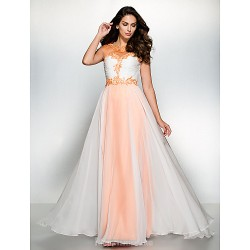 Australia Formal Dress Evening Gowns Orange Ivory A-line Scoop Long Floor-length Chiffon Tulle