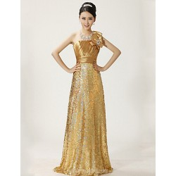 Australia Formal Dress Evening Gowns Gold Plus Sizes Dresses A-line Sexy One Shoulder Long Floor-length Lace Dress