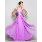 Prom Gowns Military Ball Australia Formal Dress Evening Gowns Lilac Plus Sizes Dresses Petite A-line Halter Long Floor-length Georgette Formal Dress Australia