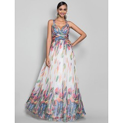 Australia Formal Evening Dress Military Ball Dress Print Plus Sizes Dresses Petite A-line Princess Straps Long Floor-length Chiffon
