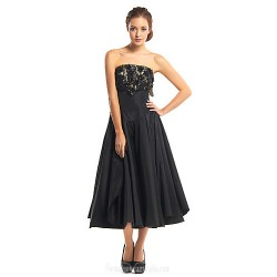 Australia Formal Dresses Cocktail Dress Party Dress Black A-line Strapless Tea-length Lace Taffeta