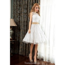 Australia Formal Dresses Cocktail Dress Party Dress White A-line Jewel Short Knee-length Lace