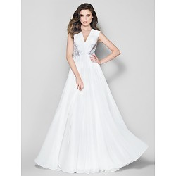 Australia Formal Dress Evening Gowns Ivory A-line V-neck Long Floor-length Chiffon