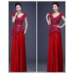 Australia Formal Dress Evening Gowns Ruby Ball Gown V-neck Long Floor-length Chiffon Lace