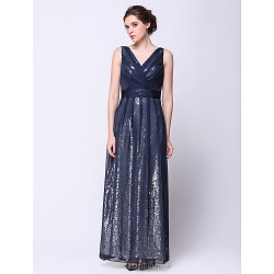 Australia Formal Dress Evening Gowns Dark Navy A-line V-neck Ankle-length Chiffon