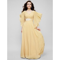 Australia Formal Evening Dress Military Ball Dress Gold Plus Sizes Dresses Petite A-line Princess V-neck Long Floor-length Chiffon