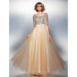 Dress Champagne Plus Sizes Dresses Petite A-line Scoop Long Floor-length Tulle Dress Sequined