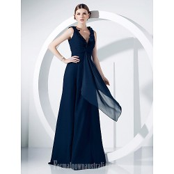 Military Ball Australia Formal Dress Evening Gowns Dark Navy Plus Sizes Dresses Petite A-line Princess V-neck Long Floor-length Chiffon