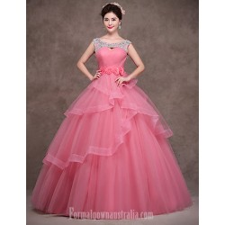 Australia Formal Dress Evening Gowns Pearl Pink Petite Ball Gown Scoop Long Floor-length Satin Tulle Polyester