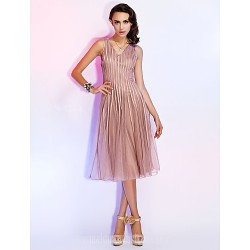 Australia Cocktail Party Dresses Holiday Dress Champagne Plus Sizes Dresses Petite A-line Princess V-neck Short Knee-length Tulle