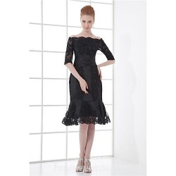 Australia Formal Dresses Cocktail Dress Party Dress Black Plus Sizes Dresses Petite A Line Off The Shoulder Short Knee Length Satin