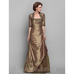 A-line Plus Sizes Dresses Petite Mother of the Bride Dress Brown Long Floor-length Half Sleeve Taffeta Lace