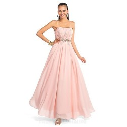Dress Pearl Pink Plus Sizes Dresses Petite A-line Princess Strapless Sweetheart Long Floor-length Chiffon