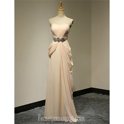 Australia Formal Evening Dress Champagne Plus Sizes Dresses Petite A-line Strapless Long Floor-length Chiffon