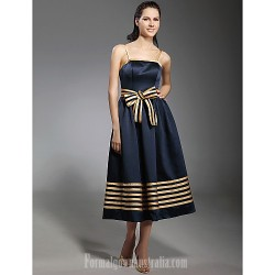 Australia Formal Dresses Cocktail Dress Party Dress Dark Navy Plus Sizes Dresses Petite A-line Princess Spaghetti Straps Tea-length Stretch Satin