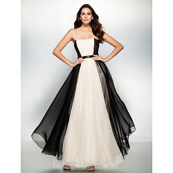 Australia Formal Dress Evening Gowns Multi Color A Line Strapless Ankle Length Chiffon