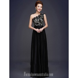Australia Formal Evening Dress Black Plus Sizes Dresses A-line Sexy One Shoulder Long Floor-length Lace Dress Stretch Satin