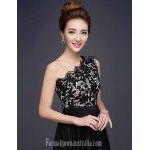 Australia Formal Dress Evening Gowns Black Plus Sizes Dresses A-line Sexy One Shoulder Long Floor-length Lace Dress Stretch Satin Formal Dress Australia