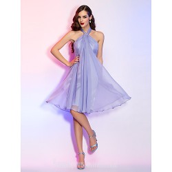 Australia Cocktail Party Dresses Holiday Dress Lavender Plus Sizes Dresses Petite A-line Halter Short Knee-length Chiffon