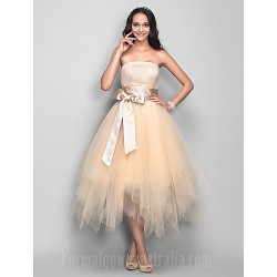 Australia Cocktail Party Dresses Holiday Dress Champagne Plus Sizes Dresses Petite A-line Strapless Tea-length Tulle