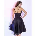 Australia Cocktail Party Dresses Holiday Dress Black Plus Sizes Dresses Petite A-line Spaghetti Straps Short Knee-length Taffeta Formal Dress Australia