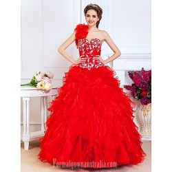 Prom Gowns Quinceanera Australia Formal Dress Evening Gowns Sweet 16 Dress Ruby Plus Sizes Dresses Petite A Line Princess Ball Gown Sexy One Shoulder Sweetheart