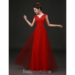 Australia Formal Dress Evening Gowns Ruby Plus Sizes Dresses A Line V Neck Long Floor Length Tulle Dress Lace