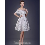 Australia Formal Dresses Cocktail Dress Party Dress Ruby Pool White A-line Off-the-shoulder Short Knee-length Satin Formal Dress Australia